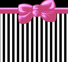 Retro Stripes, Ribbon and Bow, White Black Pink by sitnica