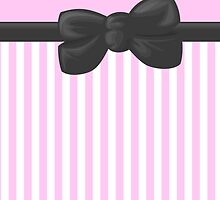 Retro Stripes, Ribbon and Bow, White Pink Gray by sitnica