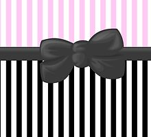 Retro Stripes, Ribbon and Bow, White Pink Gray Black by sitnica