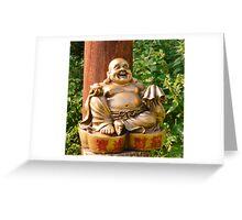 Laughing Golden Buddha Greeting Card