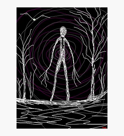 creepy slender man in woods Photographic Print