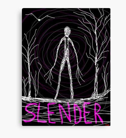 creepy slender man in woods Canvas Print