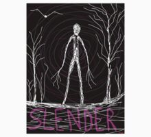 creepy slender man in woods by Tia Knight