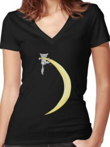 Moon Kitty Women's Fitted V-Neck T-Shirt