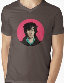 Pink Sherlock Mens V-Neck T-Shirt