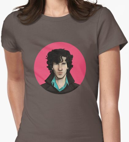 Pink Sherlock Womens Fitted T-Shirt