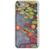 Lily pads on One Mile Lake, watercolor on paper mounted on board iPhone Case/Skin