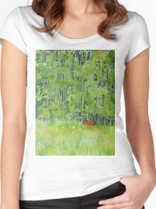 Resting on a Park bench Women's Fitted Scoop T-Shirt
