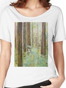 Seeing the Forest through the Trees, watercolor and mixed media on paper mounted on board, wax finish Women's Relaxed Fit T-Shirt