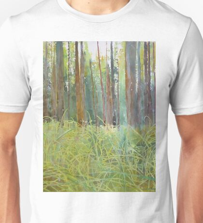 Playing in the grass, watercolor and mixed media on paper mounted on board Unisex T-Shirt