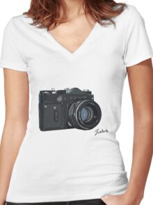 Classic Russian camera Women's Fitted V-Neck T-Shirt