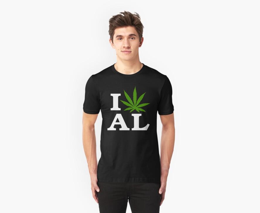 I Love Alabama Marijuana Cannabis Weed T-Shirt by MarijuanaTshirt
