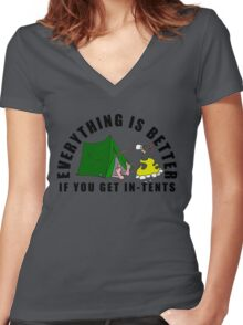 Get In-Tents. Women's Fitted V-Neck T-Shirt