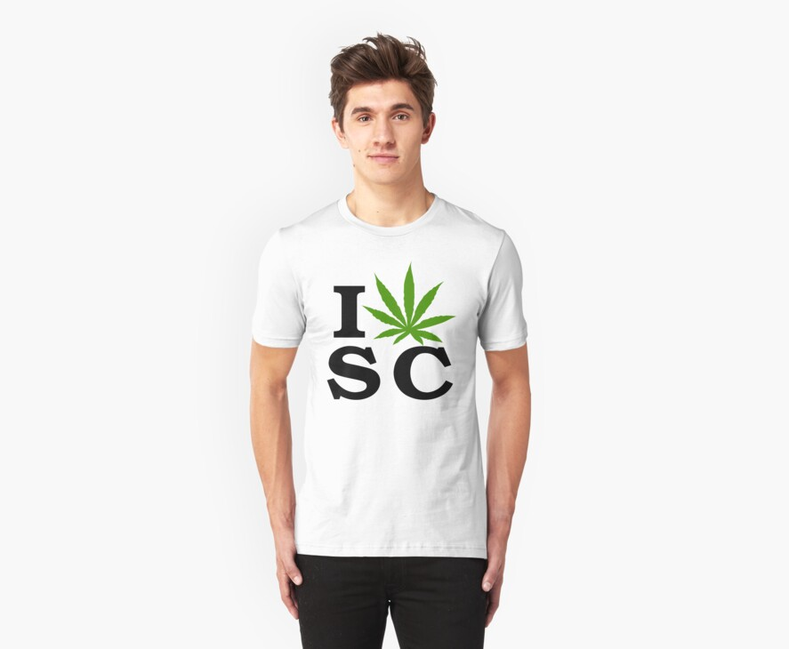 I Love South Carolina Marijuana Cannabis Weed T-Shirt by MarijuanaTshirt