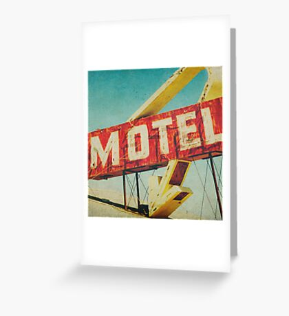 Thrashed Motel Sign Greeting Card