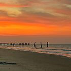 Sunset on Happisburgh Beach by Avril Harris