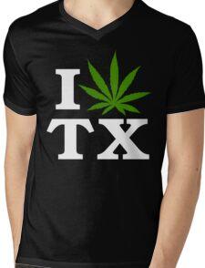 I Love Texas Marijuana Cannabis Weed T-Shirt                                          Mens V-Neck T-Shirt