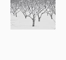 Peach Trees In Snow, Black and White Photo Unisex T-Shirt