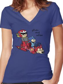 Proto and Mega Women's Fitted V-Neck T-Shirt
