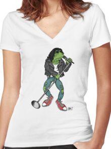 Frog N Roll Highschool Women's Fitted V-Neck T-Shirt