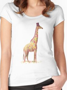 Fashionable Giraffe Women's Fitted Scoop T-Shirt