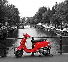 Red Scooter Amsterdam by Victor van der Meer
