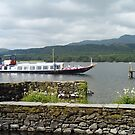 SY Gondola arriving at Brantwood pier, Coniston Water, Lake District National Park, Cumbria, UK by Philip Mitchell