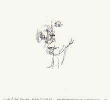 Night & Nap Drawings 93 - Man with shifted head (distant memory of Giacometti)- eyes closed - 31th July 2013 by Pascale Baud
