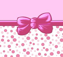 Retro Dots Spots, Ribbon and Bow, Pink White  by sitnica