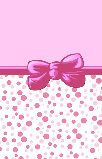 Ribbon, Bow, Dots, Spots (Dotted Pattern) - Pink White by sitnica