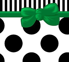 Ribbon, Bow, Polka Dots, Stripes - Black White Green by sitnica