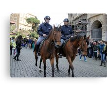 Mounted Police at Colosseum Canvas Print