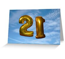 gold helium filled 21st birthday balloons Greeting Card