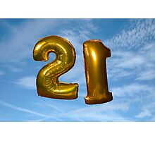gold helium filled 21st birthday balloons Photographic Print