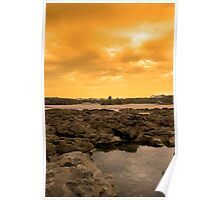 rock formations with castle at sunset Poster