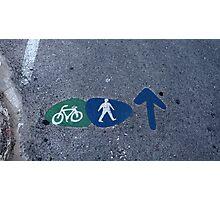 Walk and bike path Sign Photographic Print