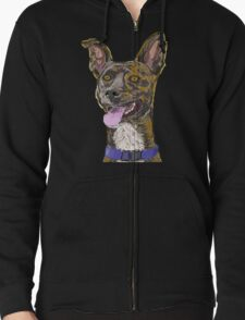 Funny Colorful Sketched Dog with Big Ears T-Shirt
