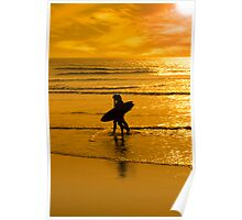 silhouette of surfing couple walking from the sea Poster