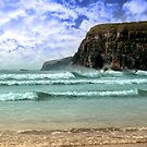 surfers near cliffs by morrbyte