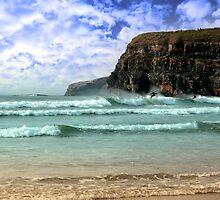 surfers near cliffs by morrbyte