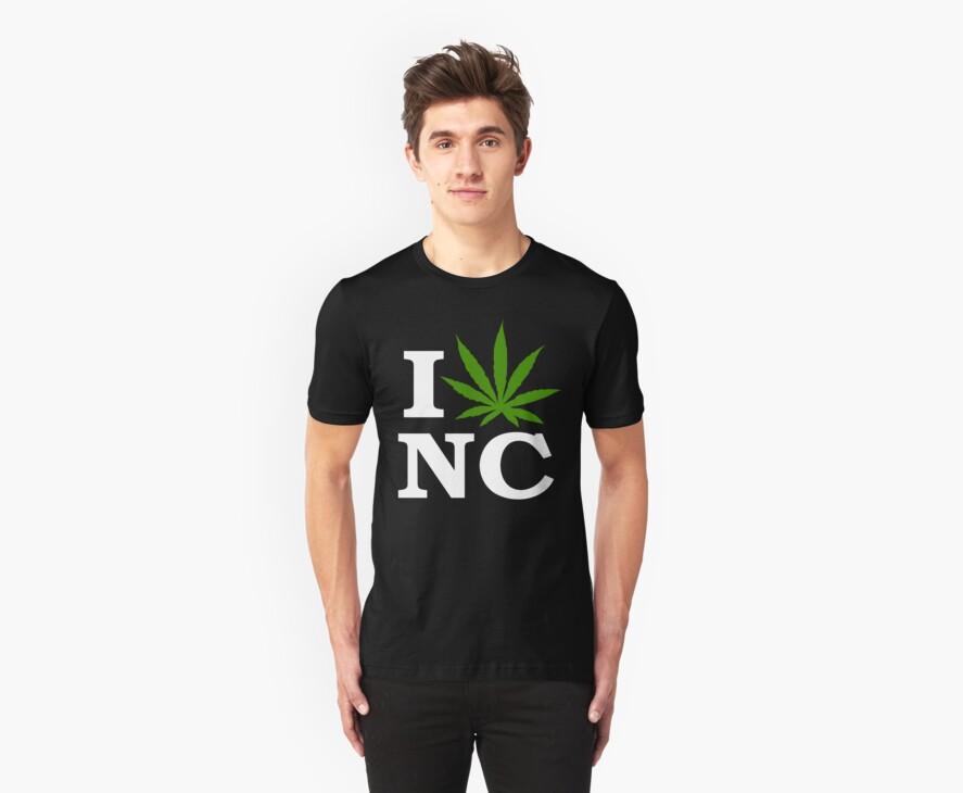 I Love North Carolina Marijuana Cannabis Weed T-Shirt        by MarijuanaTshirt