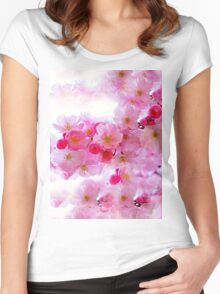 Cherry Blossoms So Pink Women's Fitted Scoop T-Shirt