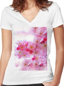 Cherry Blossoms So Pink Women's Fitted V-Neck T-Shirt