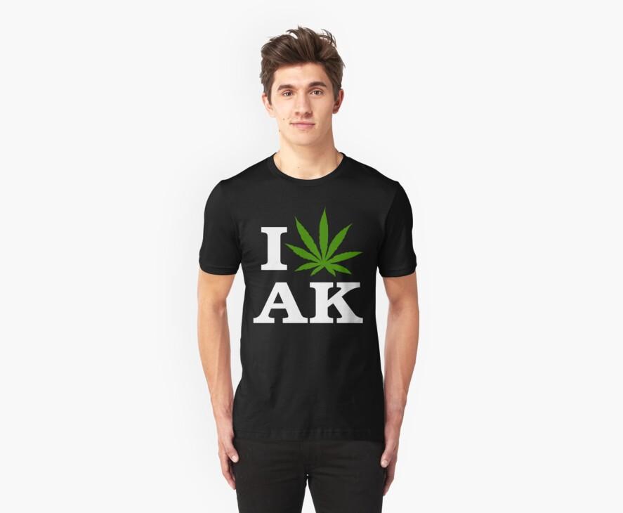 I Love Alaska Marijuana Cannabis Weed T-Shirt                                          by MarijuanaTshirt