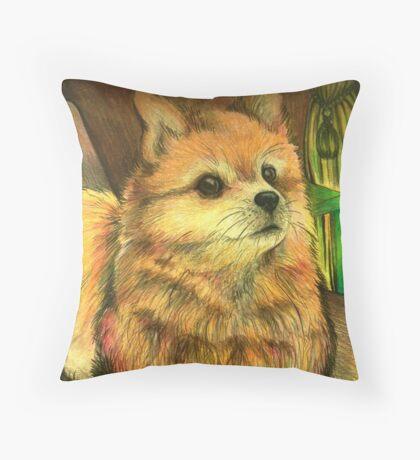 Pomeranian in Pencil Crayon Throw Pillow