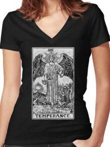 Temperance Tarot Card - Major Arcana - fortune telling - occult Women's Fitted V-Neck T-Shirt