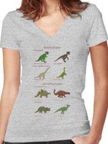 Dinosaur Classification Women's Fitted V-Neck T-Shirt