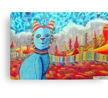 389 - FAIENCE CAT - 02 - DAVE EDWARDS - COLOURED PENCILS - 2013 Canvas Print