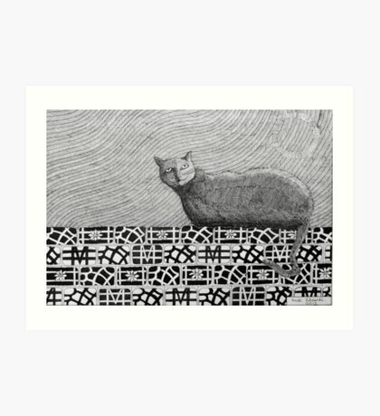 245 - CAT ON A PATCHWORK WALL - DAVE EDWARDS - INK - 2013 Art Print