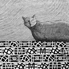 245 - CAT ON A PATCHWORK WALL - DAVE EDWARDS - INK - 2013 by BLYTHART